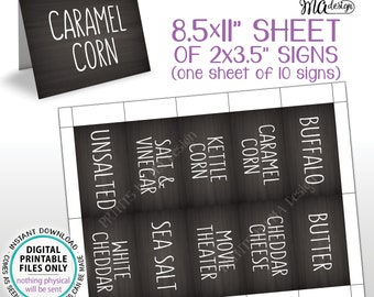 "Popcorn Flavors, Popcorn Bar Labels, Caramel Cheddar, Kettle Corn, Butter, 10 Chalkboard Style Popcorn Cards on PRINTABLE 8.5x11"" Sheet <ID>"