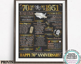 """70th Anniversary Poster Board, Back in 1951 Flashback 70 Years, Married in 1951 Anniversary Gift, PRINTABLE 16x20"""" 1951 Sign <ID>"""