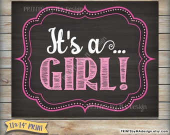 It's a GIRL chalkboard sign, Gender reveal printable photo prop, Girl Announcement, Having a Girl, Instant Download Digital Printable File