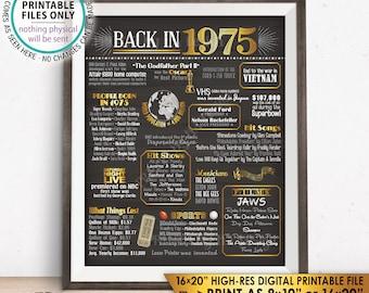 "1975 Flashback Poster, Flashback to 1975 USA History Back in 1975 Birthday Anniversary Reunion, PRINTABLE 16x20"" Sign <ID>"