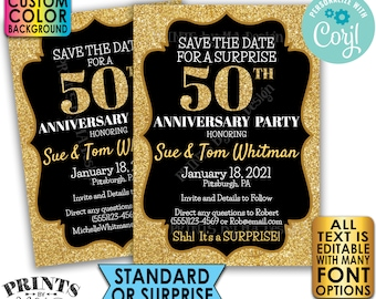"""Gold Glitter Anniversary Party Save the Date, Surprise or Standard Invite, Custom PRINTABLE 5x7"""" Digital File <Edit Yourself with Corjl>"""