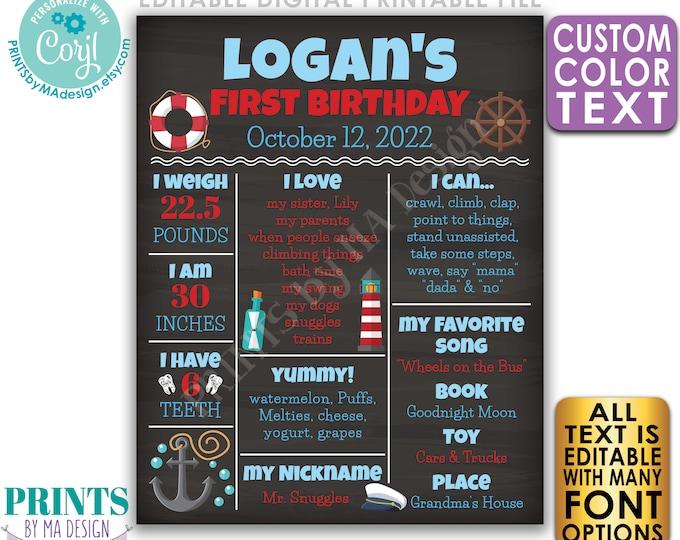 Editable Nautical First Birthday Poster, 1st B-day Stats, Anchor Sailor, Custom PRINTABLE Chalkboard Style Sign <Edit Yourself w/Corjl>
