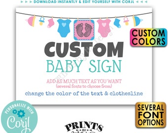 """Custom Baby Shower Sign, Choose Your Text & Colors, Baby Clothesline, 1 PRINTABLE 5x7"""" Landscape Poster <Edit Yourself with Corjl>"""