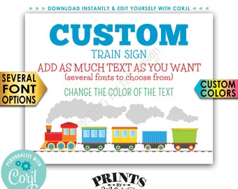 """Custom Train Sign, Railroad Birthday Party, Choose Your Text, PRINTABLE 16x20"""" Landscape Train Sign <Edit Yourself with Corjl>"""