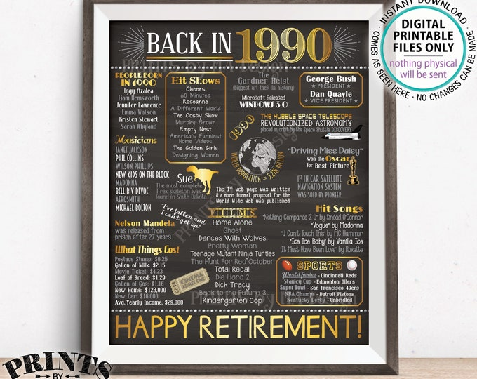 "Retirement Gift, 1990 Flashback Back in 1990 Started Job in 1990, Retired 28 Years, Gold, PRINTABLE 8x10/16x20"" Chalkboard Style Sign <ID>"