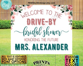 """Editable Drive-By Event Sign, Bridal Shower Welcome Sign, Custom Rose Gold Blush Floral PRINTABLE 16x20"""" Template <Edit Yourself w/Corjl>"""