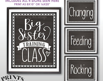 """Baby #2 Pregnancy Announcement, Big Sister Training Class Photo Props, We're Pregnant, 4 Chalkboard Style PRINTABLE 8x10/16x20"""" Signs <ID>"""