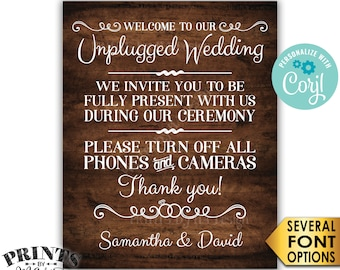 Unplugged Wedding Sign, Please Turn Off Phones & Cameras During the Ceremony, PRINTABLE Rustic Wood Style Sign <Edit Yourself with Corjl>