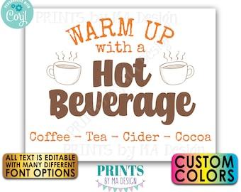 "Editable Hot Beverage Sign, Mug of Cocoa, Hot Chocolate Drink, All Text Custom PRINTABLE 8x10/16x20"" Sign <Edit Yourself w/Corjl>"