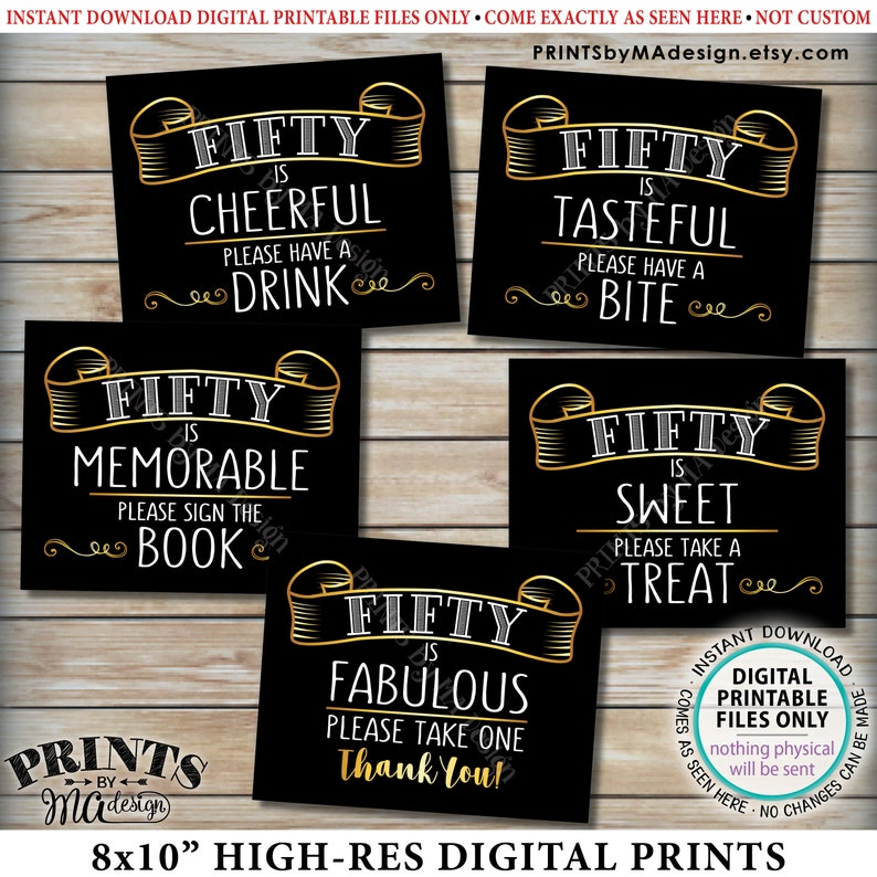 image relating to Printable 50th Birthday Signs identify 50th Birthday Signs or symptoms, 50 is Adorable, Unforgettable, Elegant, 50 is Amazing, 50th Birthday Bash Decor, 5 PRINTABLE 8x10\