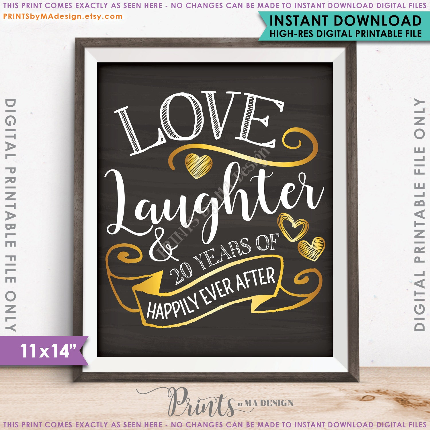 20th anniversary gift love laughter happily ever after 20 years of