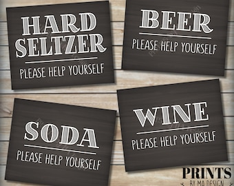 """Beverage Station Signs, Please Help Yourself to Beer Wine Hard Seltzer Soda, Alcohol Drinks, 4 PRINTABLE 8x10"""" Chalkboard Style Signs <ID>"""