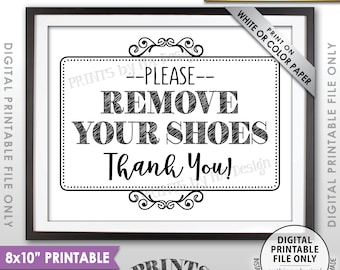"""Remove Shoes Sign, Please Remove Your Shoes, Entryway Sign, Entrance Sign, Mud Room Sign, Garage Sign, PRINTABLE 8x10"""" Sign for Home <ID>"""