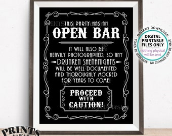 """Drunken Shenanigans Whiskey Theme Bar Sign, Party has an Open Bar Sign, Fun Documented Alcohol Caution Sign, PRINTABLE 8x10/16x20"""" Sign <ID>"""