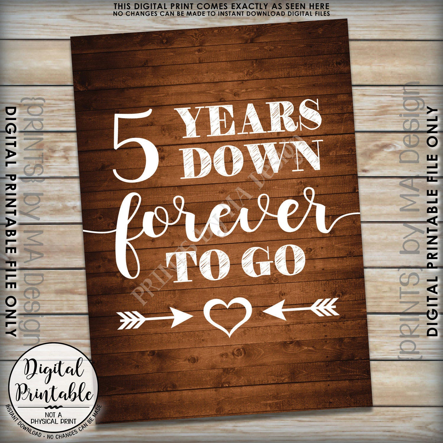5th Year Wedding Anniversary Gift: 5 Years Down Forever To Go, 5th Wedding Anniversary Gift