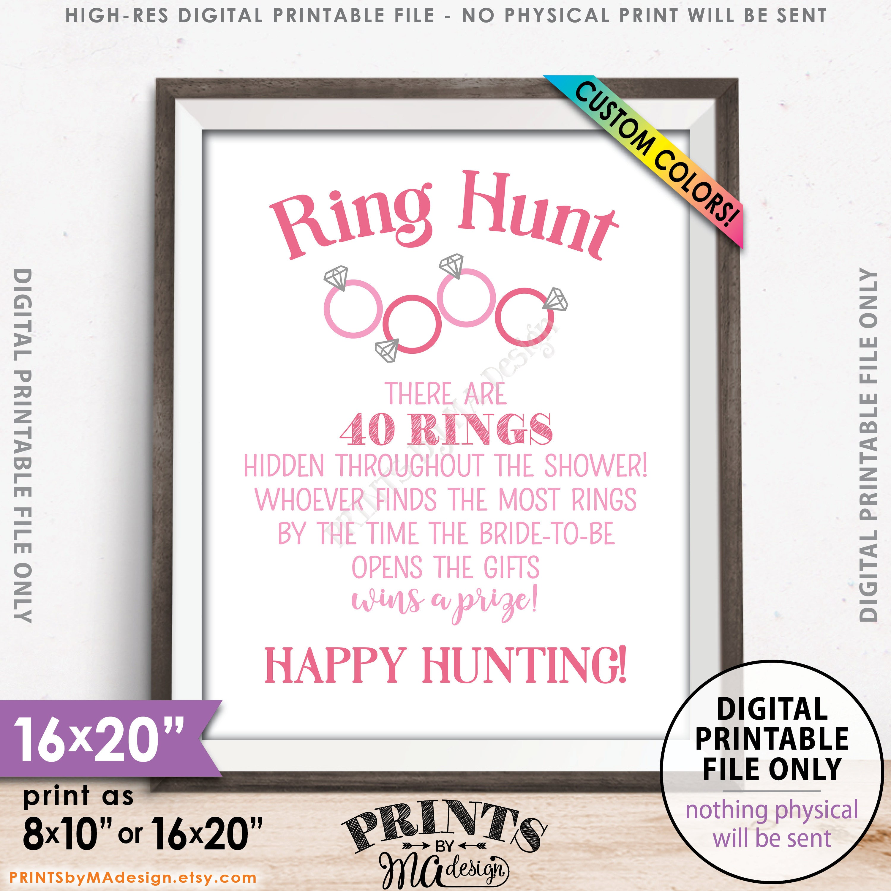 ring hunt bridal shower game sign ring scavenger hunt game for wedding shower ring hunt game custom colors printable 8x1016x20 sign