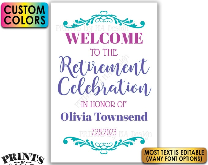 """Retirement Party Sign, Welcome to the Retirement Celebration, Custom Colors, PRINTABLE 24x36"""" Sign <Edit Yourself with Corjl>"""