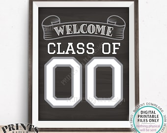 """Class of 2000 Sign, Welcome Class of 2000 Reunion Decoration, Chalkboard Style PRINTABLE 8x10/16x20"""" 2000 Class Reunion Sign <ID>"""