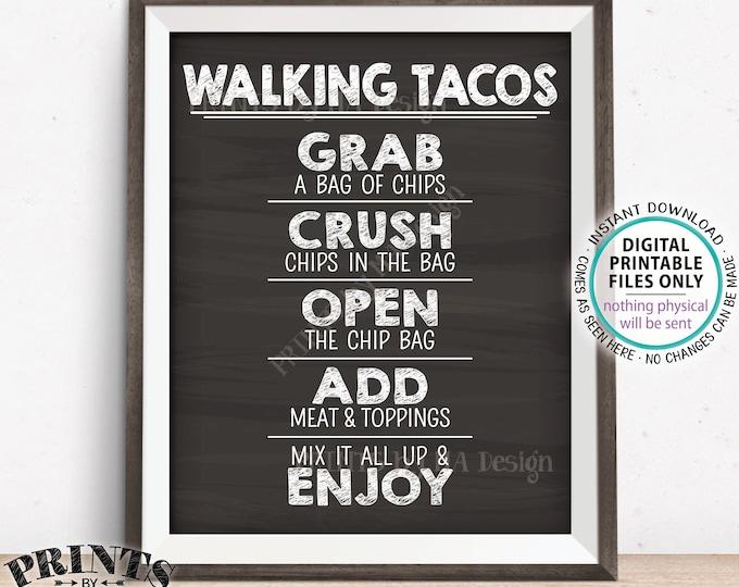 """Walking Tacos Sign, Taco Bar, Graduation Fiesta Cinco de Mayo Sweet Sixteen Birthday, PRINTABLE 8x10/16x20"""" Chalkboard Style Tacos Sign <ID>"""
