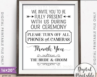 """Unplugged Ceremony Sign No Phones or Cameras Unplugged Wedding Sign, Unplugged Sign, Turn off Devices 8x10/16x20"""" Printable Instant Download"""