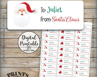 "Christmas Gift Labels, Custom Christmas Labels, Personalized Christmas Present Labels, Santa Labels, Xmas Tags, PRINTABLE 1x2-5/8"" Labels"