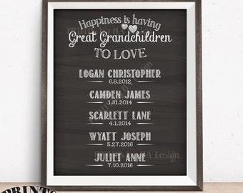 Great Grandchildren Sign, Custom Gift for Great Grandparents Gift, Great Grandma Great Grandpa, PRINTABLE Chalkboard Style Digital File