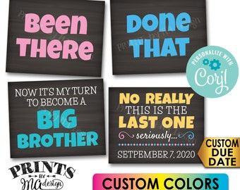 Pregnancy Announcement, Been There, Done That, My Turn to Become a Big Brother, 4 PRINTABLE Baby #4 Reveal Signs <Edit Yourself with Corjl>