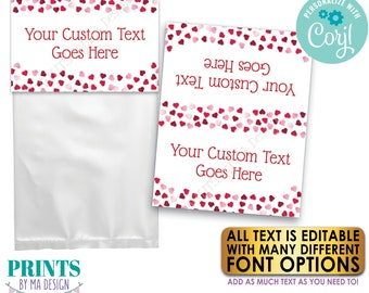 """Valentine's Day Goodie Bag Labels, Happy Hearts Day Party Favors, PRINTABLE 8.5x11"""" Sheet of 4x5"""" Treat Cards <Edit Yourself with Corjl>"""