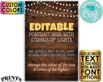 """Custom Rustic Wood Style Poster with Lights, Choose Your Text & Colors, One PRINTABLE 24x36"""" Portrait Sign <Edit Yourself w/Corjl>"""