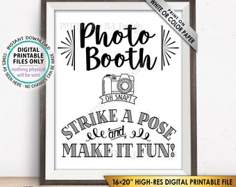 """Photobooth Sign, Strike a Pose & Make it Fun Photo Booth Sign, Selfie Sign, Wedding Sign, PRINTABLE 8x10/16x20"""" Instant Download Sign"""
