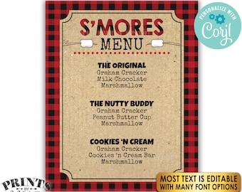 """Lumberjack S'mores Sign, Make a S'more Bar, S'more Menu, PRINTABLE 8x10/16x20"""" Sign, Red Checker Buffalo Plaid <Edit Yourself with Corjl>"""