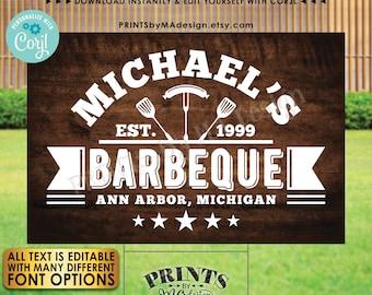 "Editable BBQ Sign, Backyard Barbecue, Barbie Grill Smokehouse, Custom PRINTABLE 24x36"" Brown Rustic Wood Style Sign <Edit Yourself w/Corjl>"
