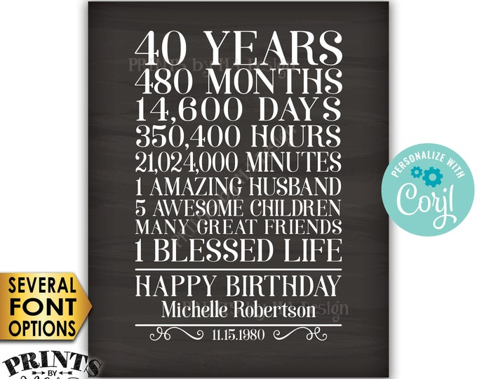 """40th Birthday Gift for a Woman, 40 Years, One Blessed Life, Custom PRINTABLE 8x10/16x20"""" Chalkboard Style Sign <Edit Yourself with Corjl>"""