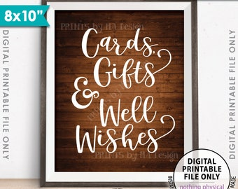 """Cards Gifts and Well Wishes Sign, Cards & Gifts, Wedding Sign, Birthday Presents, 8x10"""" Rustic Wood Style Printable Instant Download Sign"""