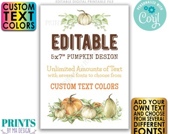 """Editable Pumpkin Sign/Card, Choose Your Text, Create One Custom Fall Watercolor Style PRINTABLE 5x7"""" Portrait Sign <Edit Yourself w/Corjl>"""
