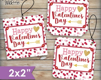 """Valentine's Day Tags, Valentines Day Cards, Treat Bag, Valentine's Goodie Bag, School Valentines, 2"""" tags on PRINTABLE 8.5x11"""" Sheet <ID>"""
