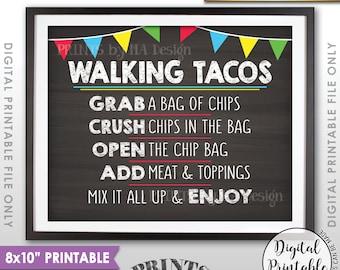 """Walking Tacos Sign, Taco Bar Taco Sign, Cinco de Mayo, Sweet Sixteen Birthday, Graduation Party, PRINTABLE 8x10"""" Chalkboard Style Sign <ID>"""
