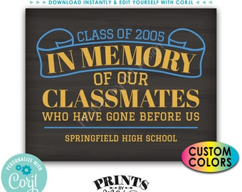 """Reunion Memorial In Memory of the Classmates Who Have Gone Before Us, PRINTABLE 8x10/16x20"""" Chalkboard Style Sign <Edit Yourself with Corjl>"""