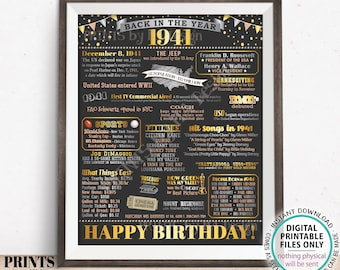 """Back in the Year 1941 Birthday Sign, Flashback to 1941 Poster Board, '41 B-day Gift, Bday Decoration, PRINTABLE 16x20"""" Sign <ID>"""