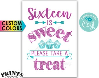 """Sweet 16 Party Sign, Sixteen is Sweet Please Take a Treat, Birthday Party Favors, PRINTABLE 5x7"""" Cupcakes Sign <Edit Yourself with Corjl"""