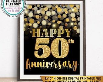 """50th Anniversary Sign, Happy Anniversary, Golden Fiftieth Anniversary Card, 50 Years, Black & Gold Glitter 8x10"""" PRINTABLE Instant Download"""