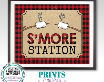 """S'more Station Sign, Lumberjack Smores, PRINTABLE 8x10/16x20"""" Lumberjack Style Sign, Red Checker Buffalo Plaid <ID>"""