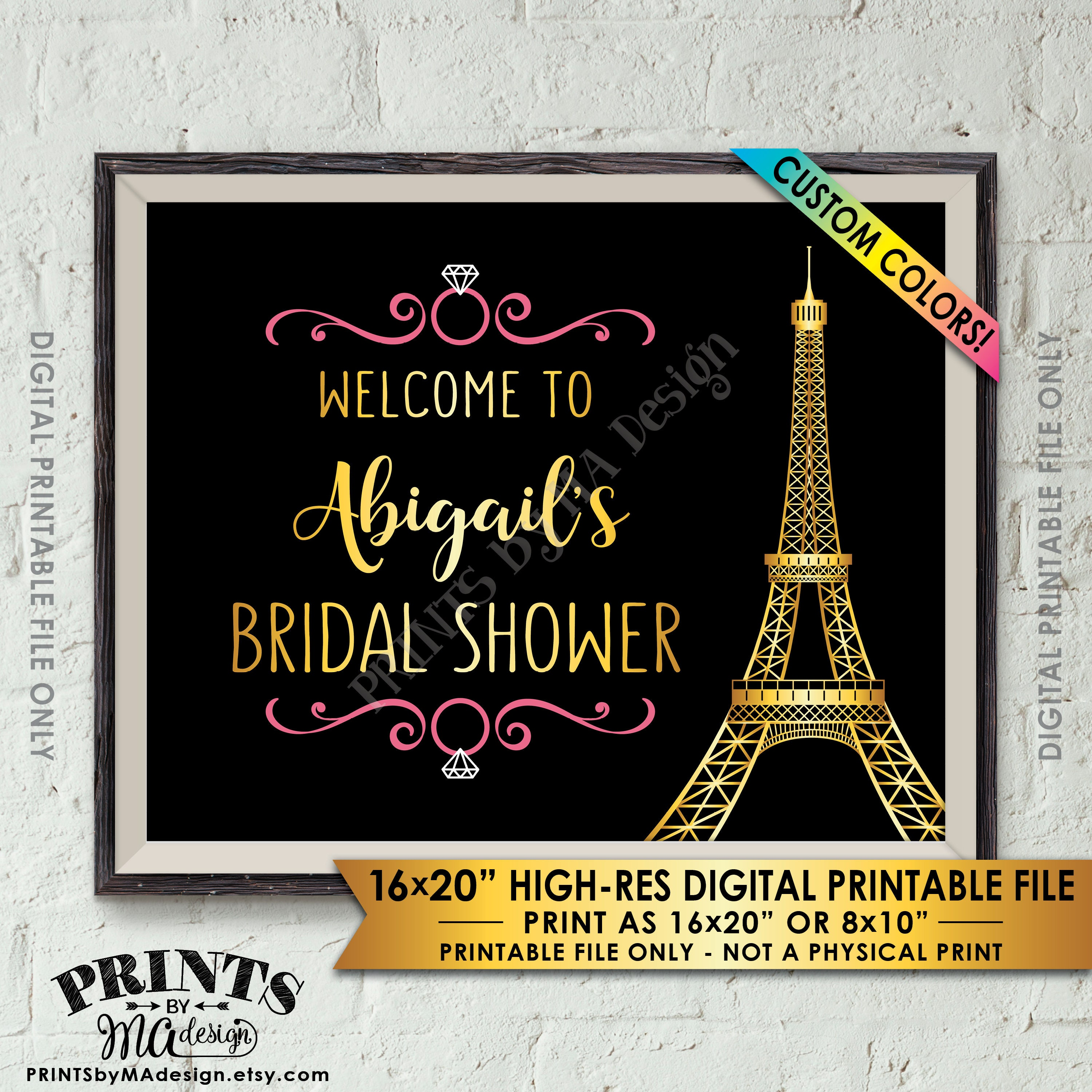 bridal shower welcome sign paris themed bridal shower paris wedding paris shower decoration 8x1016x20 printable custom color black