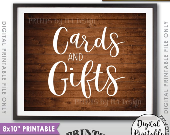 """Cards and Gifts Sign, Cards & Gifts Sign, Wedding Gift Table Sign, Birthday Presents, 8x10"""" Rustic Wood Style Printable Instant Download"""