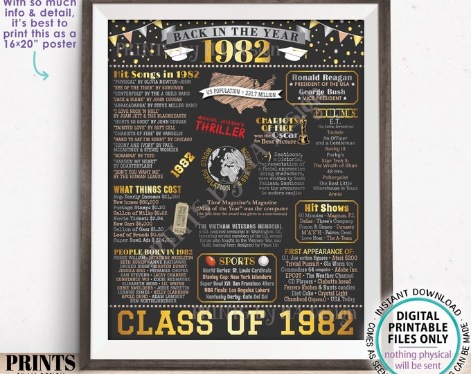 """Class of 1982 Reunion Decoration, Back in the Year 1982 Poster Board, Flashback to 1982 High School Reunion, PRINTABLE 16x20"""" Sign <ID>"""