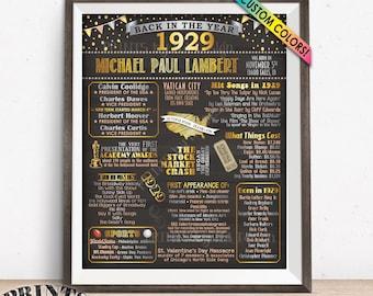 "1929 Birthday Poster Board, Back in 1929 Birthday Decoration, B-day Gift, Custom PRINTABLE 16x20"" Flashback 1929 Sign"