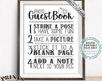 """Photo Guestbook Sign, Guest Book Wedding Sign, Birthday Party, Graduation Memorybook, Retirement Scrapbook, PRINTABLE 8x10/16x20"""" Sign <ID>"""