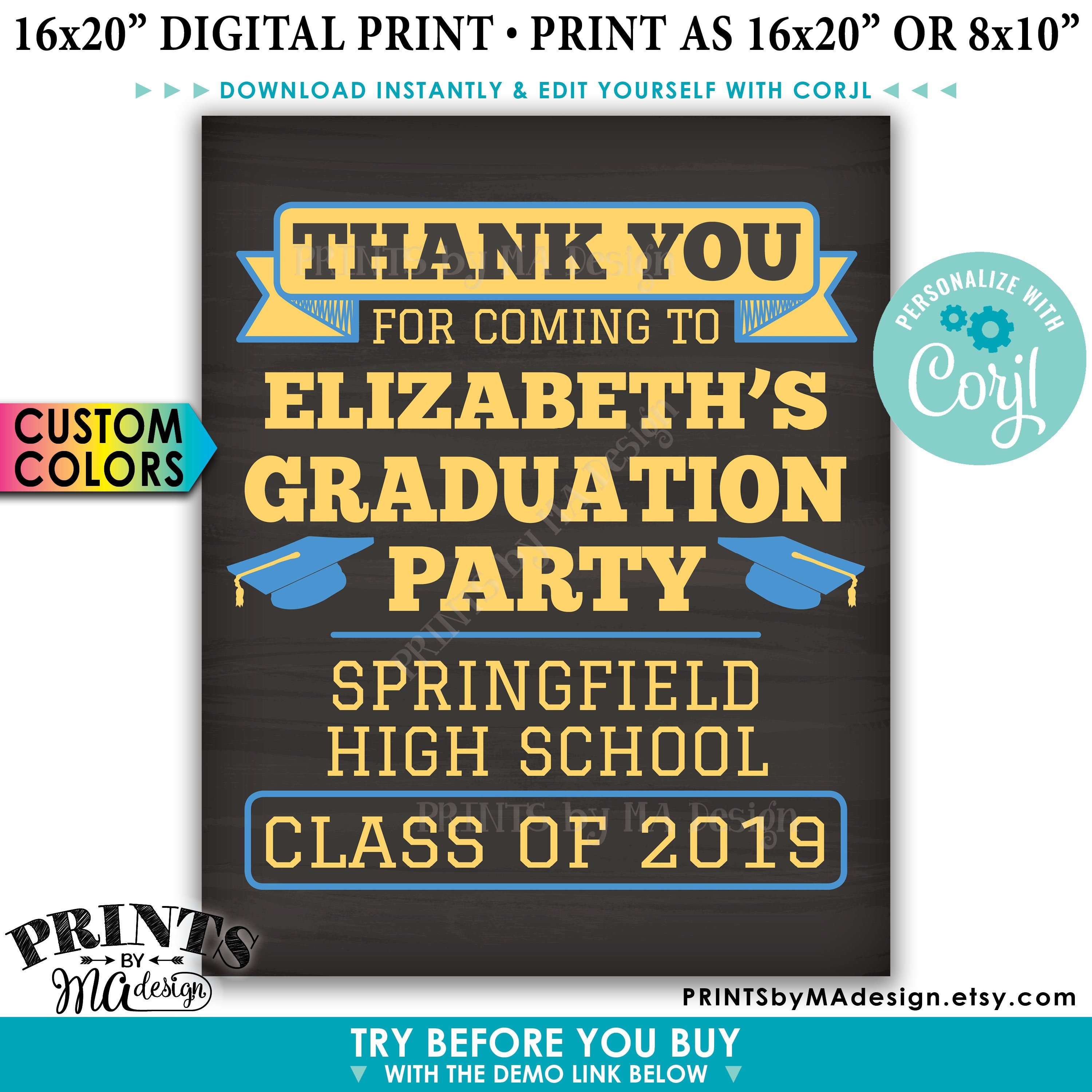 photo regarding Printable Graduation Decorations named Thank Your self for Coming in the direction of the Commencement Celebration Indicator