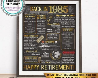 "Retirement Party Decorations, Back in 1985 Poster, Flashback to 1985 Retirement Party Decor, Chalkboard Style PRINTABLE 16x20"" Sign <ID>"