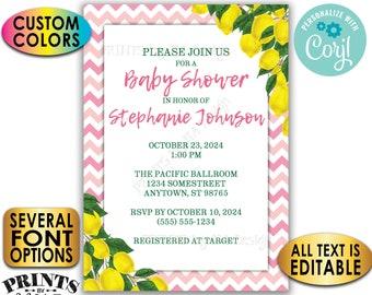 "Lemon Baby Shower Invitation, Summer Lemonade, Tuscan Garden, Custom Colors, Chevron, 5x7"" Digital Printable File <Edit Yourself with Corjl>"